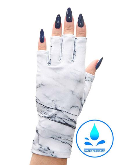 White Marble ManiGlovz manicure sunblock gloves