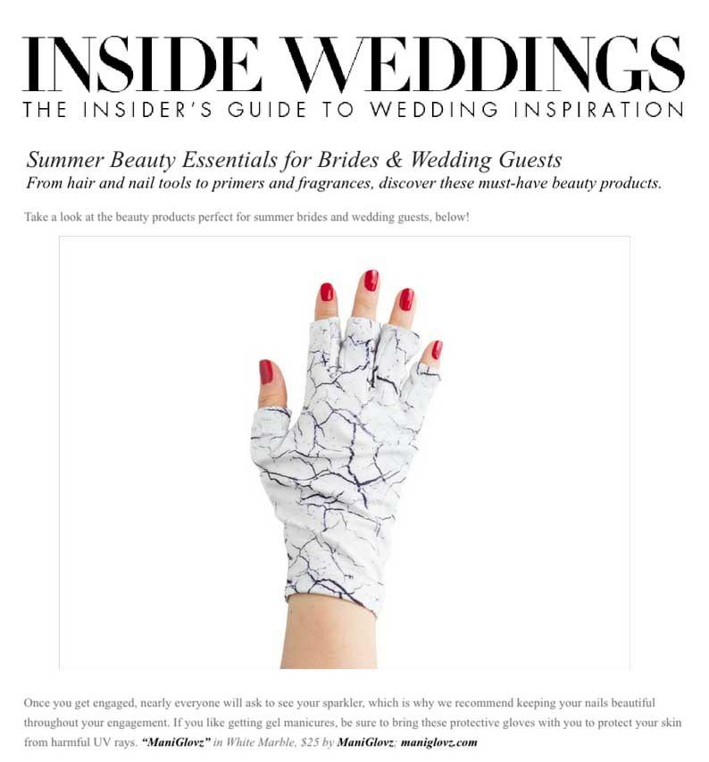 ManiGlovz as featured in Inside Weddings Magazine